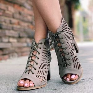 Open Toe Laced Up Spring Cut Out Ankle Booties